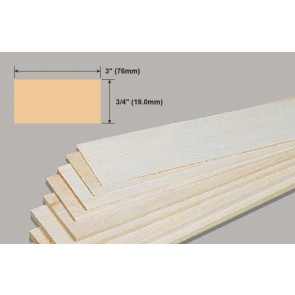 Balsa Wood Sheet - 3/4 x 3 x 36""