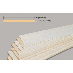 Balsa Wood Sheet - 1/32 x 4 x 36""