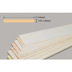 Balsa Wood Sheet - 1/16 x 4 x 36""