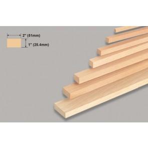 "Balsa Wood Block - 1 x 2 x 36"""