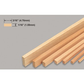 Balsa Wood Strip - 1/16 x 3/16 x 36""