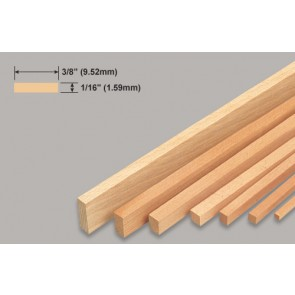 Balsa Wood Strip - 1/16 x 3/8 x 36""