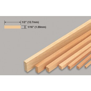 Balsa Wood Strip - 1/16 x 1/2 x 36""