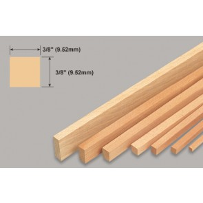 Balsa Wood Strip - 3/8 x 3/8 x 36""
