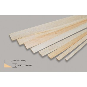 Balsa Wood Trailing Edge - 3/16 x 1/2 x 36""