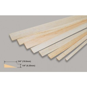 Balsa Wood Trailing Edge - 1/4 x 3/4 x 36""