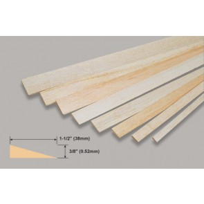 Balsa Wood Trailing Edge - 3/8 x 1-1/2 x 36""