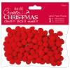 Mini Pom Poms (120pcs) - Red